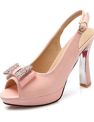 LFNLYX Chaussures Femme-Habillé / Soirée & Evénement-Noir / Rose / Blanc-Talon Bobine-Talons / A Plateau / A Bride Arrière / Bout Ouvert-Sandales Pink