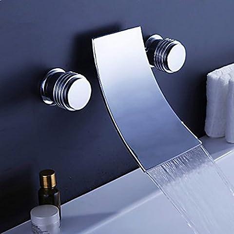 Tougmoo Eau chaude et froide robinet de lavabo encastré d'eau chaude et eau froide robinet de lavabo double commande, Plus d'un