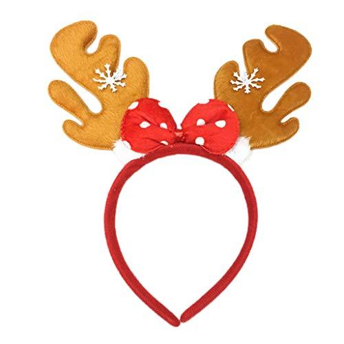 Weihnachten Geweih Haarreif mit Schneeflocke Haarig Stirnbänder für Cosplay Weihnachtszubehör Haarband Christmas Party Weihnachts-Stirnband Weihnachtsdeko Haarbänder Gummiband - Rosa Heißen 50er Jahre Für Erwachsene Kostüm