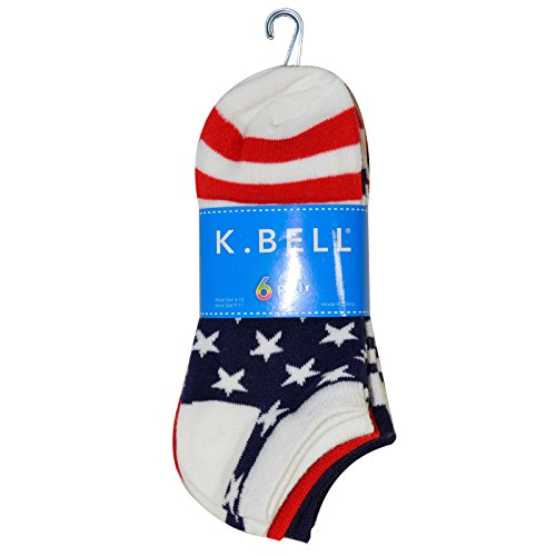K. Bell Womens 6 Pair Pack No Show Socks