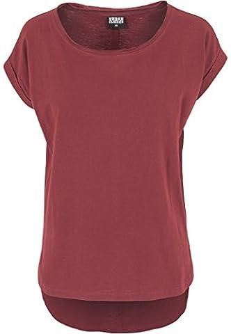 URBAN CLASSICS - Ladies Long Back Shaped Slub Tee (burgundy),