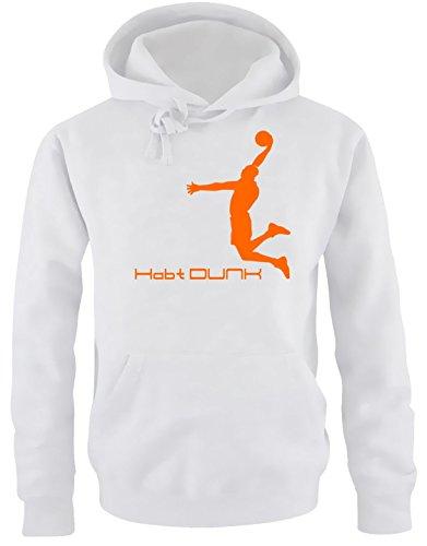 Habt DUNK Basketball Slam Dunkin Kinder Sweatshirt mit Kapuze HOODIE weiss-orange, Gr.164cm