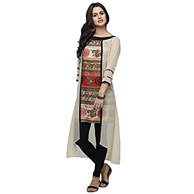 Navabi Export Women's Faux Georgette Beige Kurta (N1047_4710_X-Large) - Beige Please Note: There is no Bottom and Dupatta.