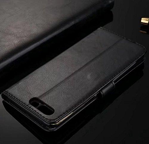 Retro Folio Stand Case Retro Classic PU Leder Geldbörse mit Kartensteckplätzen für OnePlus 5 ( Color : Blue ) Black