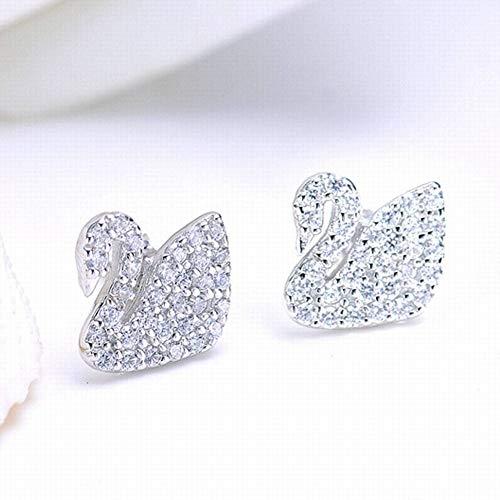 ERH Damen Natürliche 925 Silber Tier/Sternzeichen Diamant Ohrstecker S925 Sterling Silber Edle Schwan Ohrringe Mode Wilden Temperament Weiblichen Silber Inlay Schmuck, 925 Silber