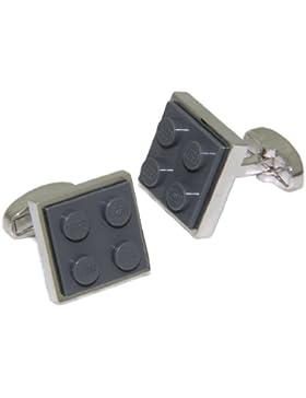 Cuffs & Co - Gemelli con motivo mattoncino Lego®, colore: grigio