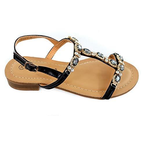 Sb-sandaletto basso gioiello in ecopelle, tacco basso altezza cm. 2.5, nero/argento/oro (37 eu, nero)
