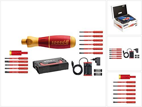 Wiha speedE® elektronischer Schraubendreher - Set 1 in L-Box mit 2x 1,5 Ah Akku und Ladegerät + Bits (41911) + Easy Torque Adapter + Bit Set Torx Satz 6 - teilig