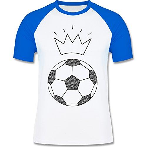 Fußball - Fußball Skizze mit Krone - zweifarbiges Baseballshirt für Männer Weiß/Royalblau