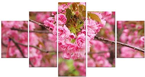 YIJIAN Mural Kreative Printed Leinwandbilder 5 Panel-Rosa Pfirsich Blossom Wandmalerei Kunst Poster Wohnkultur Stabiler Schöne/Wie gezeigt -