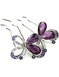 YAZILIND elegante joyas de estilo mariposa de Novia de accesorios de pelo de cristal de diamantes de imitacion brillo de pelo broches de pelo broches para las mujeres ninas tocado