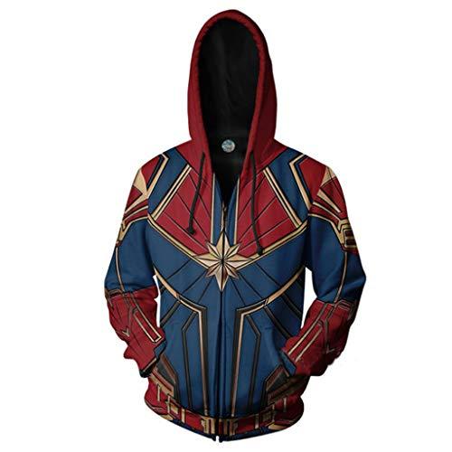 Kostüm Hoodies Marvel - Yujingc Cosplay My Hero Academia Jacke Captain Marvel Sweatshirt Cosplay Kostüm Hoodies Unisex Adult 3D Anime Oberbekleidung,Red,M
