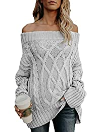 Jitong Pull Tricoter Femme, sans Bretelle Manches Longues Chandail Chaud,  Pullover Tops df0ffb76a28f