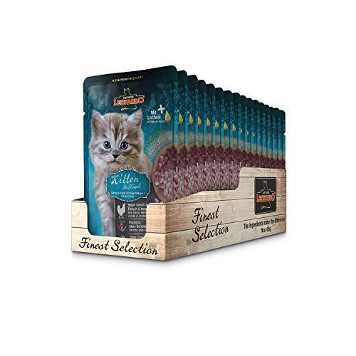 Leonardo Frischebeutel [16x85g Kitten Geflügel] | Getreidefreies Nassfutter für Katzen | Feuchtfutter Alleinfutter im Einzelportionsbeutel - Leonardo Katzenfutter