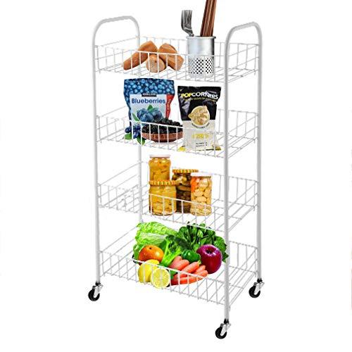 Holaroses 4 Etagen Küchenwagen Rollwagen Allzweckwagen Haushaltwagen Servierwagen Küche Bad Büro...