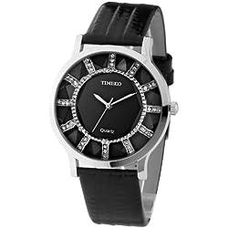 TIME100 Women's Fashion Retro Dimensional Cutting Diamond Sunflower Elegance Black Dial Big Face Leather Strap Quartz Ladies Wrist Watches #W50204L.03A