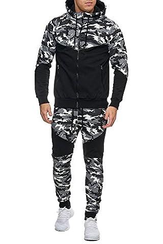 Herren Camouflage Army Jogginganzug Jogging Hose Jacke Sportanzug Military Grau L