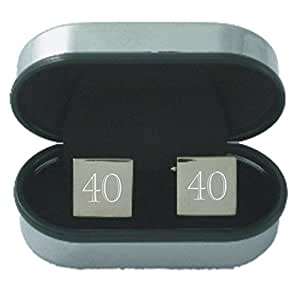 40th Birthday Age Cufflinks - Rhodium plated silver coloured square Cufflinks engraved by OFL with the number 40 and supplied in a chrome presentation case. Ideal 40th Birthday or Anniversary gift for men.