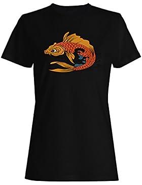 Pescados pescador koi pesca divertido novedad camiseta de las mujeres rr70f