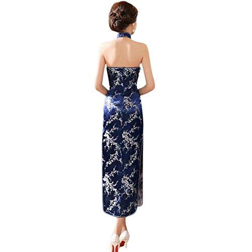 Meijunter Traditionell Verbesserte Frauen Rückenfrei Lange Hochzeit Cheongsam Kleid Retro Ärmellos Qipao Robe 12#