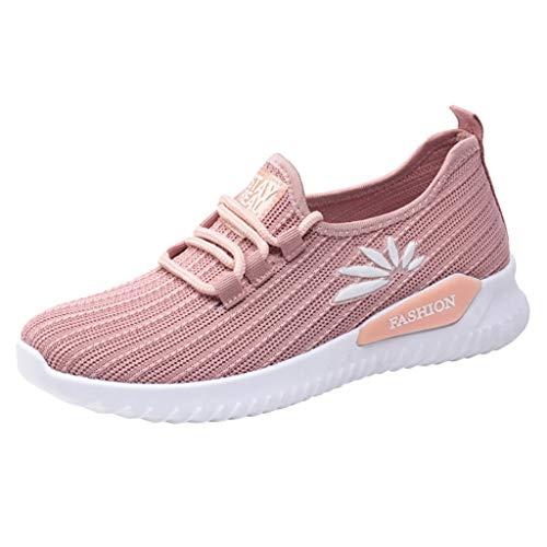 Damen Slip On Sneaker Sportlich Laufschuhe Bequeme Leichtgewichtig Sportschuhe Atmungsaktiv Turnschuhe Wanderschuhe Leichte Mesh-Bequeme Schuhe (EU:40, Rosa)