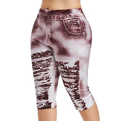 Asalinao Yoga Leggings Frauen Arbeiten hohe Taillen-Yoga-Hosen Plus Größe 3D zerrissene Jean-Druck-Gamaschen um