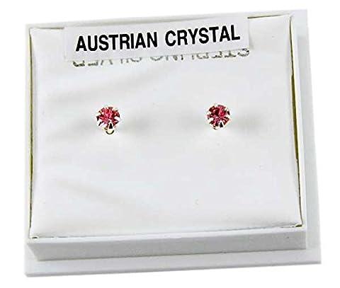 Earring Silver Stud Pink Claw Set Austrian Crystal Stone 3mm