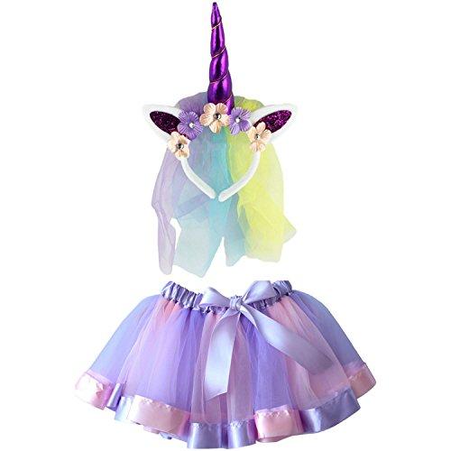 Kostüm Set, 2 in 1 80er Mädchen Regenbogen Set - Regenbogen Ballet Tutu, Einhorn Haarreif für Tanz Party Karneval (80 Kostüme Für Mädchen)