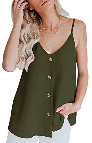 Aixy Damen sexy Tank Top Oberteil Bluse Tunika Top ärmellose Bluse V-Ausschnitt Slip Damen Tshirt Spaghetti Top, Armee grün S -