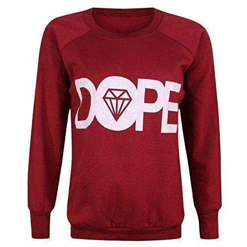 Desire Clothing Pull à manches longues pour femme Imprimé Diamant Dope haut 8–22 Bordeaux