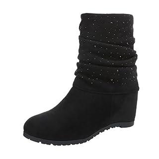 Keilstiefeletten Damen-Schuhe Keilstiefeletten Keilabsatz/ Wedge Keilabsatz Reißverschluss Ital-Design Stiefeletten Schwarz, Gr 37, 0-123-