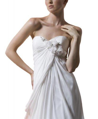 GEOGE BRIDE - Robe du style fluide en mousseline avec fleurs manuelles Ivoire