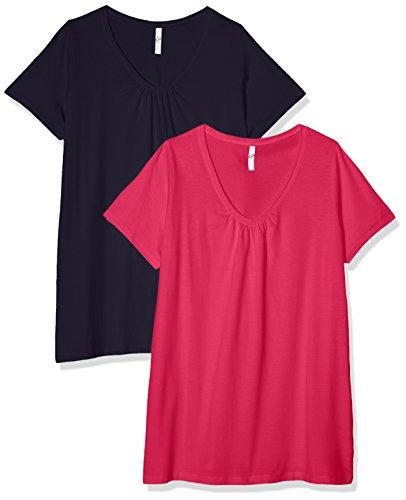 Evans Damen T-Shirt 2 Pack Tee Multicoloured (Black)