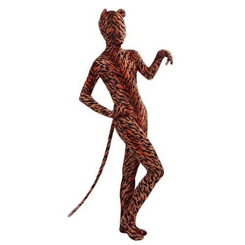 Tubayia Frauen Männer Tiger Kostüm Hautnahen Bodysuit für Halloween Karneval Fasching Party