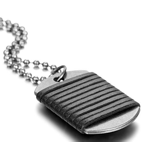 Jewelrywe Gioielli Collana con Pendente da Uomo, Ciondolo, Catenina, Piastrine Militari, Dog Tag, Pelle Lega, Nero (con Borsa Regalo)