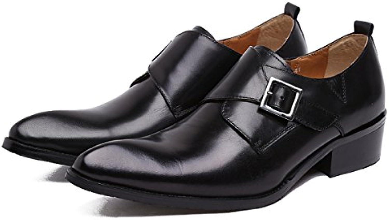 GRRONG Zapatos De Cuero De Piel De Vaca De Los Hombres Traje De Etiqueta Señaló Negocio