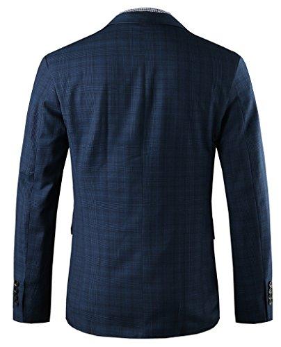 Hanayome - Veste de costume - Parka - Col Chemise Classique - Manches Longues - 100 DEN - Homme bleu foncé
