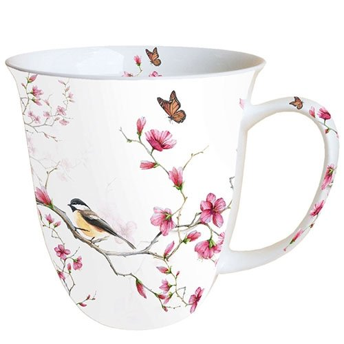 Ambiente Becher - Mug - Tasse - Tee/Kaffee Becher ca. 0,4L Bird & Blossom White Bone China Fine China Mug