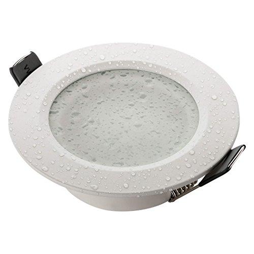 Sebson® Foco empotrable Techo, para baño (IP44), Redondo, Blanco Mate, Aluminio, Incl....