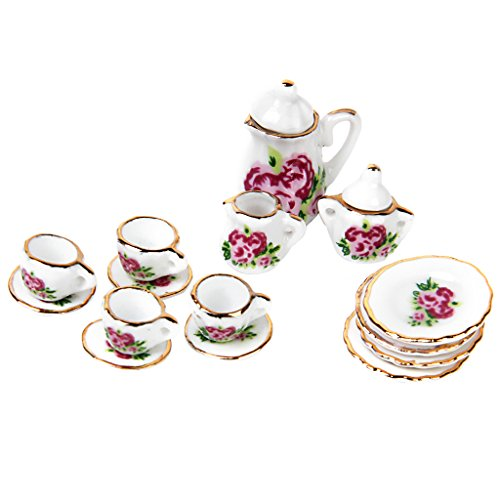 Gazechimp 15PCS 1:12 Puppenhaus Möbel Miniatur Porzellan Tee-Set Teekanne Tea cups Untertassen Zuckerdose Milchbehälter Geschirr (Hübsches Puppen Porzellan)