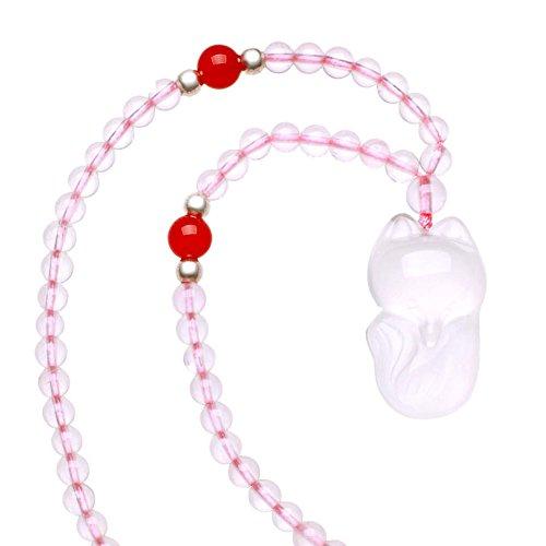 Pendente di cristallo di Fox di cristallo naturale/ collana donna gioielli/ in argento pendente
