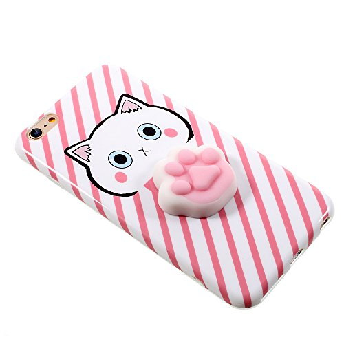 iphone 7 plus Hülle, Squishy Cat 3D weiche Silikon Cartoon iphone 7 plus TPU Hülle für nail pinch finger pinch, die Prise des Cartoons für Entspannung F