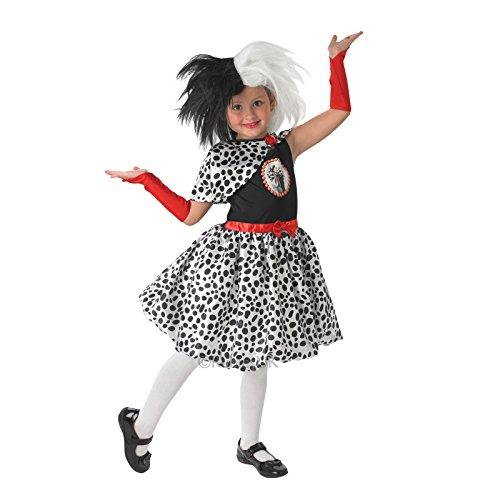 Mädchen Cruella de Ville Rubies Kinder Kostüm-Perücke separat erhältlich (Cruella Deville Kostüm Kind)