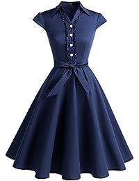 Wedtrend Robe Rétro Vintage années 50 Robe Rocabilly Audrey Hepburn Longue avec Une Ceinture à des Boucles de cœur Elégante