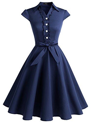 Wedtrend Damen 50er Retro Herzform Knopf Rockabilly Kleid Kurzarm Swing Kleider mit Gürtel WTP10007 Navy L