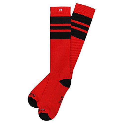 Roller 70's Kostüm Skate (The black Blacks | Retro Socken von Spirit of 76 | Rot, Schwarz gestreift | kniehoch | Unisex Strümpfe Size M)