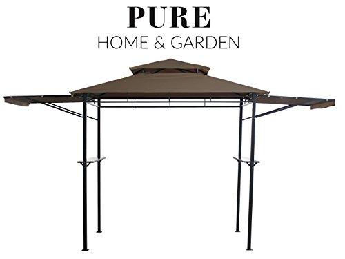 Pure Home & Garden Luxus Grill Pavillon San Lorenzo, wasserabweisend mit stabilen Seitenablagen und klappbaren Seitenteilen -