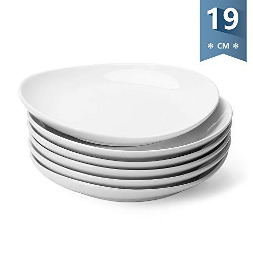 Sweese 151.001 Dessertteller Set, 6-teilig, Kuchenteller Frühstücksteller aus Porzellan, 19 cm
