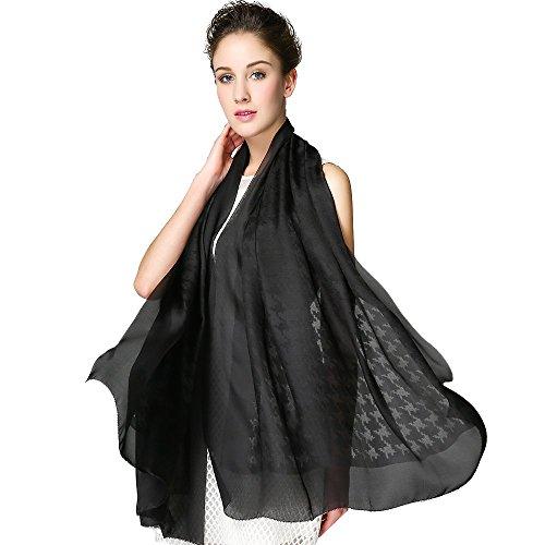IRRANI soie foulard de soie femme écossaise des châles. Noir