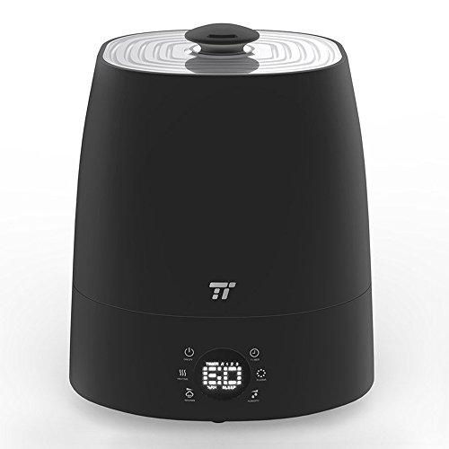 TaoTronics Humidificateur d'Air Ultrasonique à Brume Tiède et Froide 5,5L Humidificateur Bébé avec Mode Nuit et Minuterie 1 à 12h, 6 Indicateurs à LEDs, Protection Niveau d'Eau Bas, Capteur d'Humidité Externe Précis pour Maison de 40-60㎡